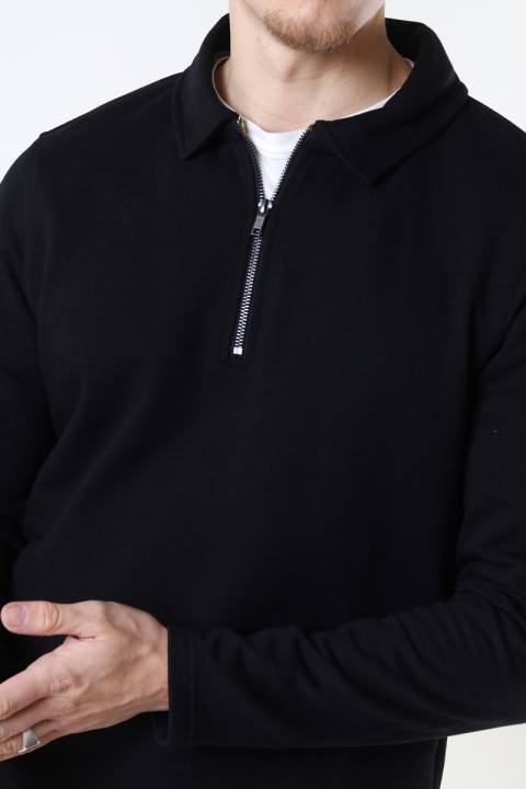 ONLY & SONS ONSMAC REG HALF ZIP SWEAT Black