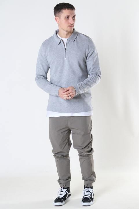 ONLY & SONS ONSMAC REG HALF ZIP SWEAT Light Grey Melange