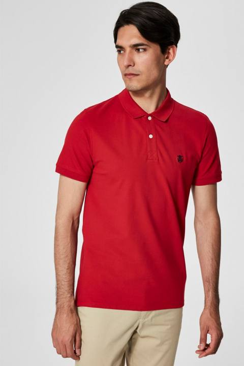 Selected Aro S/S Emroidery Polo Overhemd Noos Scarlet Sage