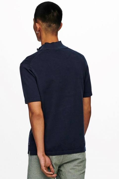 Only & Sons Onsavi Life 12 Ss Quarter Zip Knit D. Navy