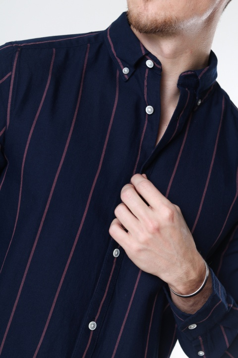 ONLY & SONS ONSTARIF LIFE ORGANIC STRIPE TWILL SHIRT Dress Blues