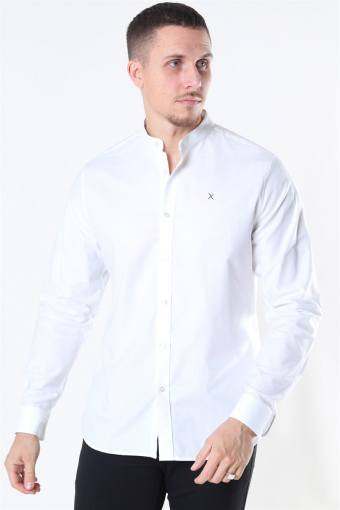 Clean Cut Oxford Stretch Mao L/S Overhemd White