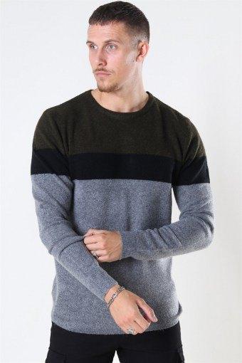 Clean Cut Toby Stretch Stripe Army/Black/Grey Mel