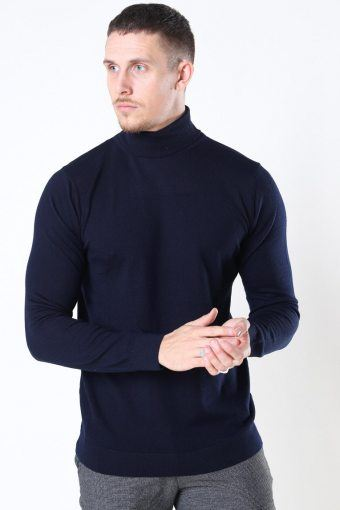 Merino Wool Roll Breien Navy