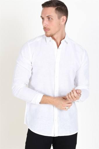 Caiden LS Solid Linen Overhemd White