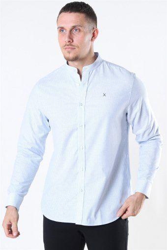 Clean Cut Oxford Stretch Mao Stripe L/S Overhemd Light Blue