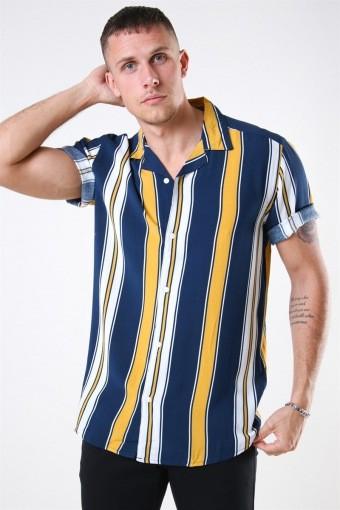 Vilas S/S Reverse Viscose Overhemd Golden Spice Stripes