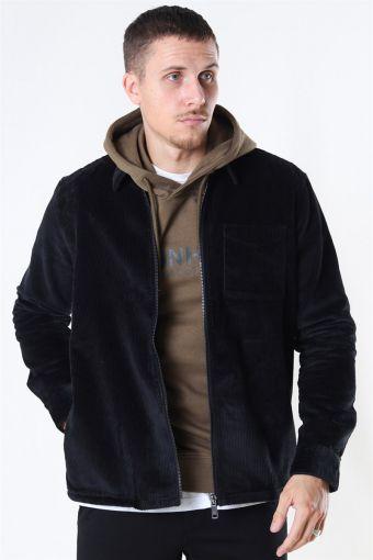 Braiden Heavy Cord Zip Overshirt Black