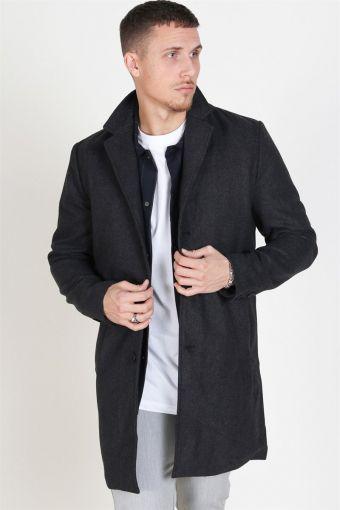 Fayette Faux Wool Lange Jas Dark Grey Melange