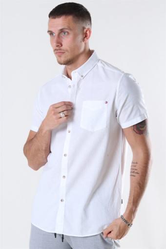 Bill SS BD Lin Overhemd White