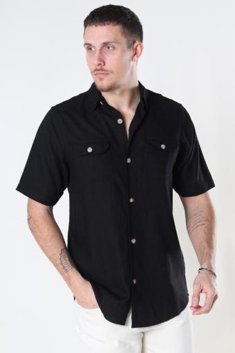 DP Linen ss shirt 001 Black
