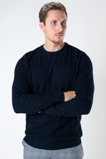 Bertil Cotton crew neck knit Navy