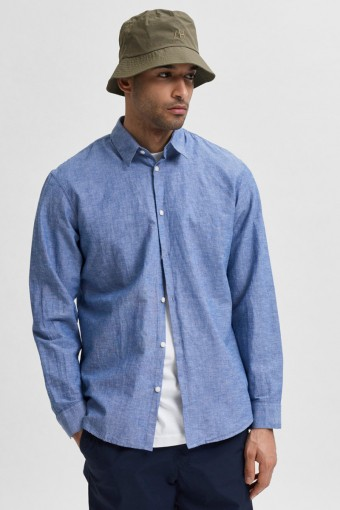 SLHSLIMNEW-LINEN SHIRT LS W NOOS Medium Blue Denim