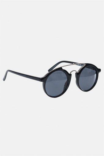 Fashion Round Club Sort/Sølv Zonnebril Grey Lens
