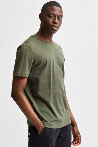 SLHNORMAN180 SS O-NECK TEE S NOOS Forest Night Melange