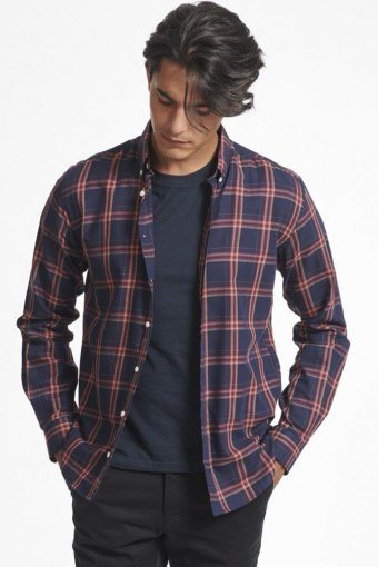 Boswell Overhemd Dark Navy Check