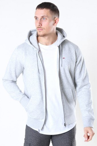 Tommy Jeans Fleece Zip Hoodie Light Grey
