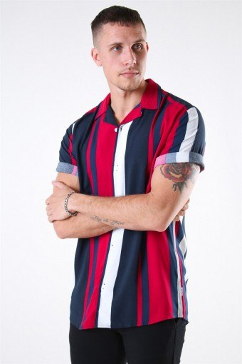 Vilas S/S Reverse Viscose Overhemd Persian Red Stripes