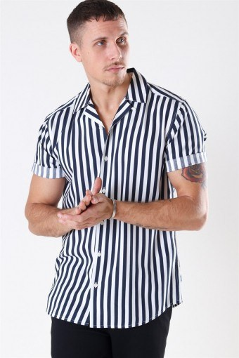 Wayne Striped Viscose Overhemd Dress Blues