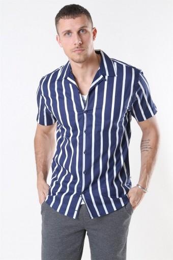 Cuba Overhemd Gr. 87 S/S Dark Blue/White