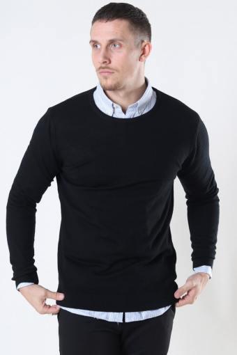 Clean Cut Merino Wool Crew Breien Black
