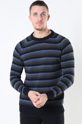 Liam Crew Multi Stripe Breien Black/Army