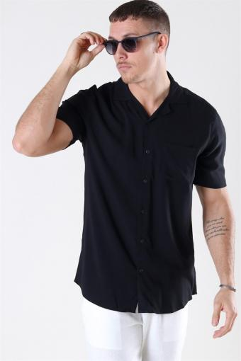 Silo Solid Viscose Overhemd Black