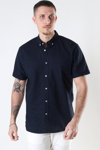 Cotton / Linnen Shirt S/S Navy