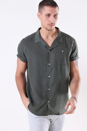 Laurent Tencel SS Overhemd Dark Green