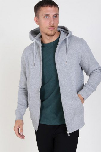 Organic Morgan Zip Sweat Light Grey Mel
