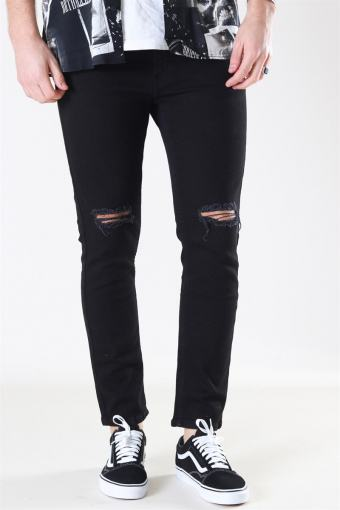 Mr. Red Knee Cut Jeans Black