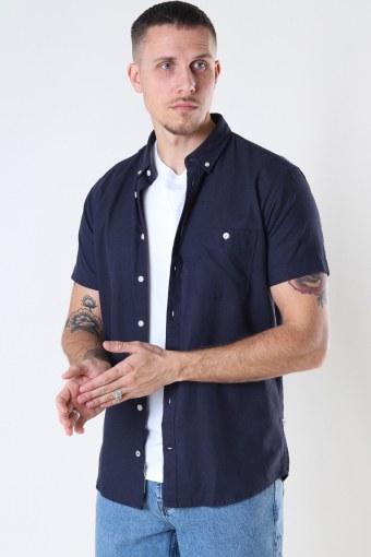 Johan Linen S/S shirt Navy