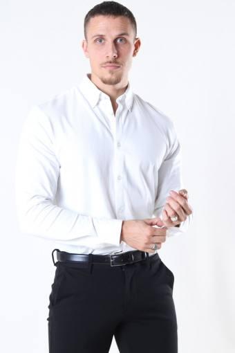Slim Oliver Knit Flex Overhemd LS Bright White