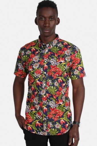 Johan Exotic S/S Shirt Forest/Red