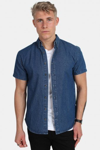 Johan Denim Overhemd S/S Dark Blue