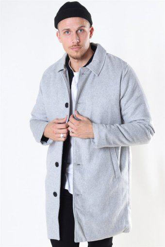 Uldfrakke Light Grey Melange