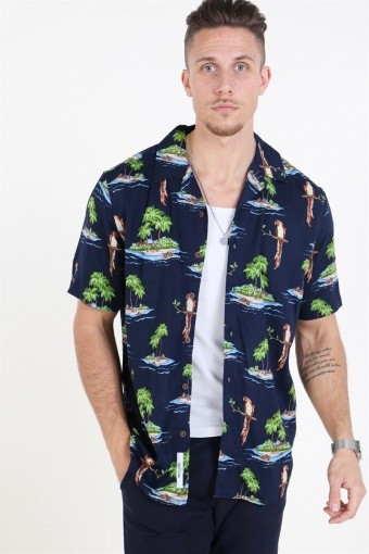 Sid SS Reg AOP Viscose Overhemd Re Dark Navy