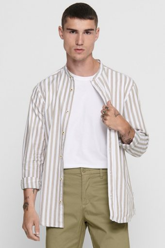 ONSMATTHEW LIFELS STRIPE MANDARINE SHIRT Dull Gold