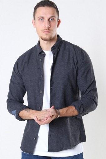 Edin LS Flannel Twill Overhemd Black