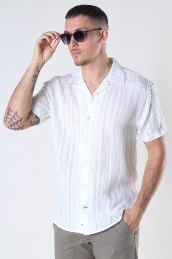 Cuba Linen striped shirt White
