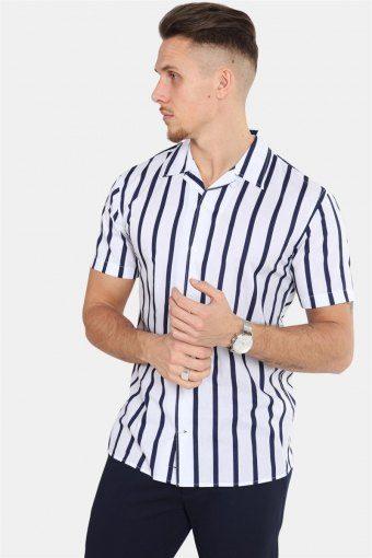 Cuba S/S Gr.86 Overhemd White/Dark Blue