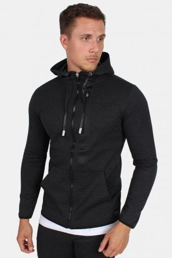 Vinn Zip Hood Sweat Dark Grey Melange