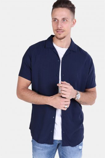 Jack & Jones Randy Resort Overhemd S/S Solid Navy Blazer