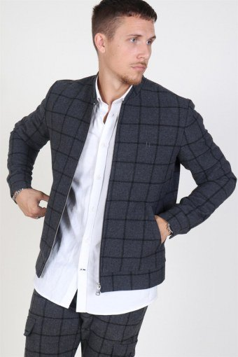 Como Wool Check BomberJas Charcoal/Black