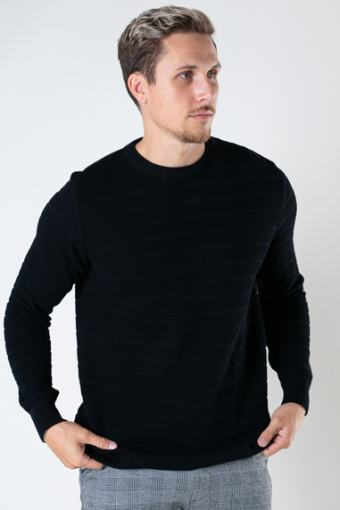Folke Cotton crew neck knit Black