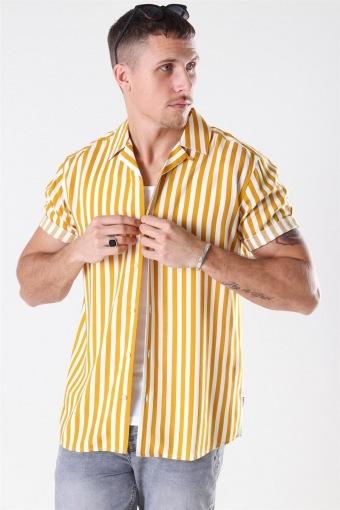 Wayne Striped Viscose Overhemd Golden Spice