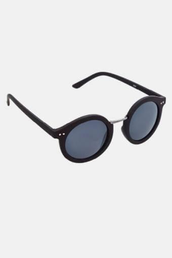 Fashion 1517 Rund Zonnebril Black Rubber/Gun Dark Grey Glass