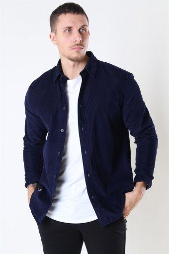 Reg Henley Fløjls Overhemd LS Maritime Blue