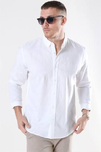Clean Cut Cotton Linen Overhemd White
