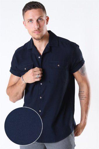 Andrew Waffle Overhemd S/S Dark Navy